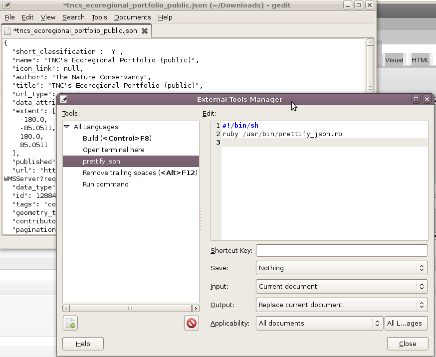 JSON prettifier for gedit – thinkwhere