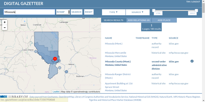 Fig 2. Gazetteer Text Search